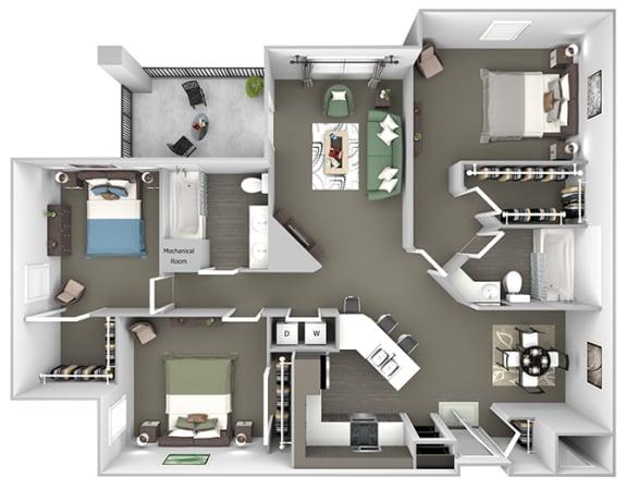 Cheswyck at Ballantyne Apartments - C2 (Davidson) - 3 bedrooms and 2 bath - 3D floor plan