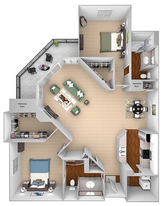Mountain Shadows Apartments - B2  (Bahama) - 2 Bedroom and 2 bath - 3D floor plan