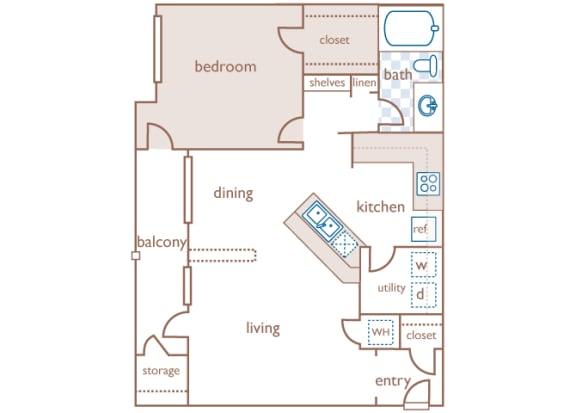 The Estates at River Pointe - A1 - 1 bedroom - 1 bathroom - 2D Floor plan