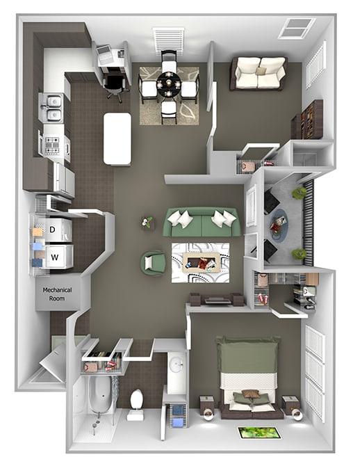 The Estates at River Pointe - B1 - 2 bedroom - 1 bathroom - 3D Floor plan