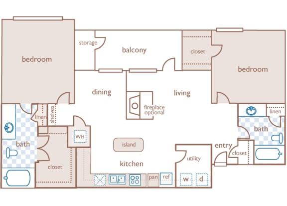 The Estates at River Pointe - B2 - 2 bedroom - 2 bathroom - 2D Floor Plan