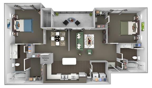 The Estates at River Pointe - B2 - 2 bedroom - 2 bathroom - 3D Floor Plan