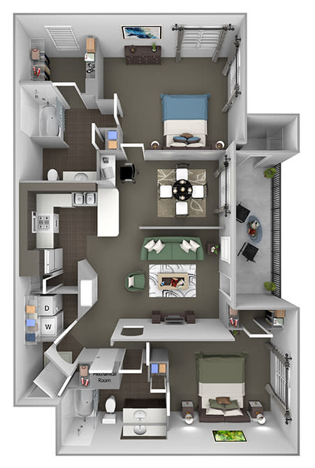 The Estates at River Pointe - B3 - 2 bedroom - 2 bath - 3D floor plan