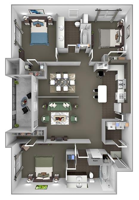 The Estates at River Pointe - C1 - 3 bedroom - 2 bathroom - 3D floor plan