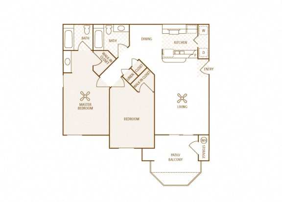 Arrowhead Landing Apartments - B2 (Harbor) - 2 bedrooms and 2 bath