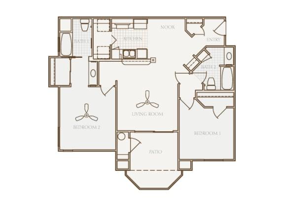 Barton Vineyard - B2 (Chablis with larger closet) - 2 bedrooms and 2 bath - 2D