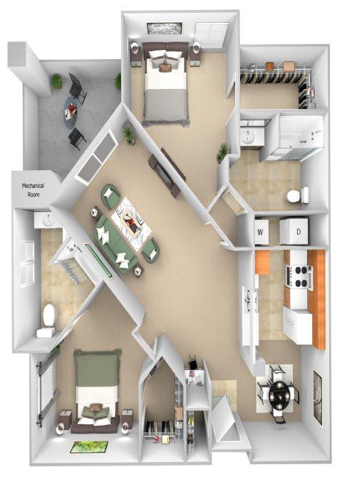 Barton Vineyard - B4 (Sicily) - 2 bedrooms and 2 bath - 3D