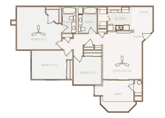 Barton Vineyard - C1 (Piedmont) - 3 bedrooms and 2 bath - 2D