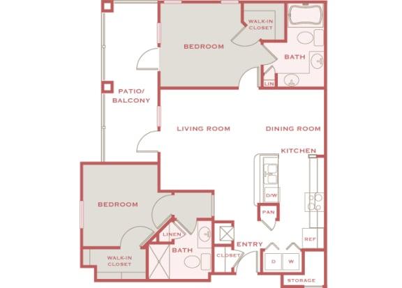 Cordillera Ranch B2 Paloma 2 bedroom floor plan
