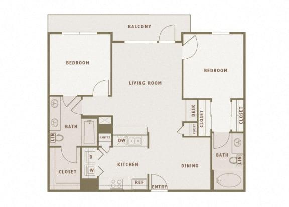 Monterra Las Colinas - B1 - 2 bedroom - 2 bath