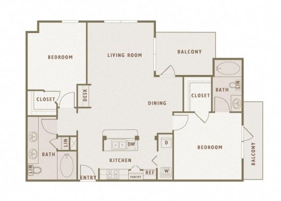 Monterra Las Colinas - B3 - 2 bedroom - 2 bath