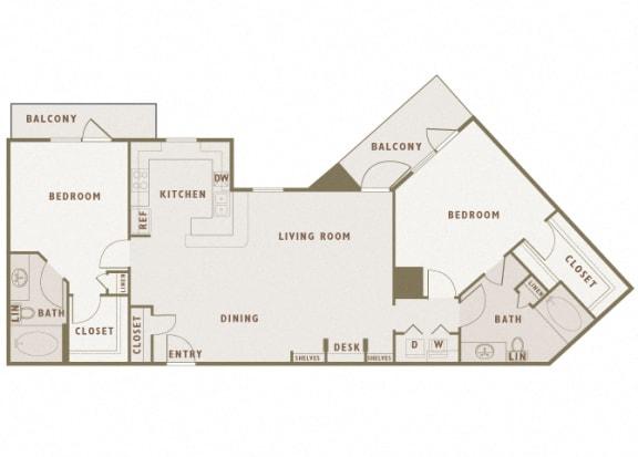 Monterra Las Colinas - B5 - 2 bedroom - 2 bath