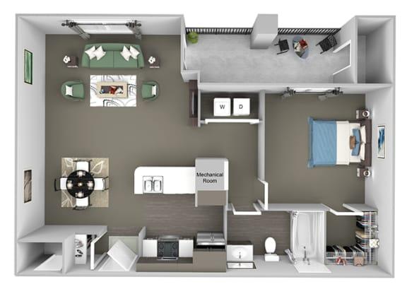 Corbin Greens Apartments - A2 - 1 bedroom and 1 bath - 3D floor plan
