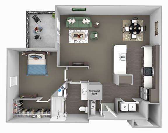Corbin Greens Apartments - A3 - 1 bedroom and 1 bath - 3D floor plan