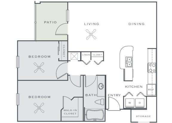 Corbin Greens Apartments - B1 - 2 bedrooms and 1 bath