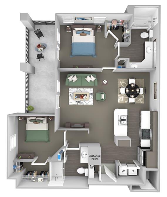 Corbin Greens Apartments - B2 - 2 bedrooms and 2 bath - 3D floor plan