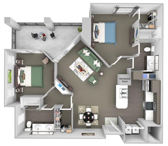 Corbin Greens Apartments - B3 - 2 bedrooms and 2 bath - 3D floor plan