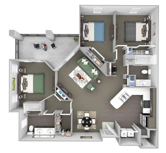 Corbin Greens Apartments - C1 - 3 bedrooms and 2 bath - 3D floor plan