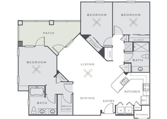 Corbin Greens Apartments - C1 - 3 bedrooms and 2 bath