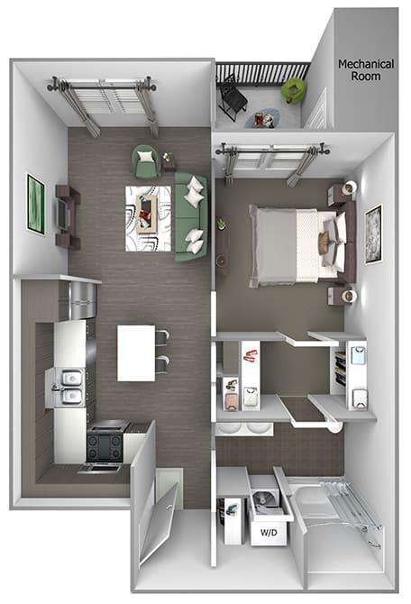 Quinn Crossing - A1 (Newell) - 1 bedroom and 1 bath - 3D floor plan