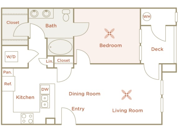 Quinn Crossing - Cataract Creek (A3) - 1 Bedroom - 1 bath - 2D floor plan