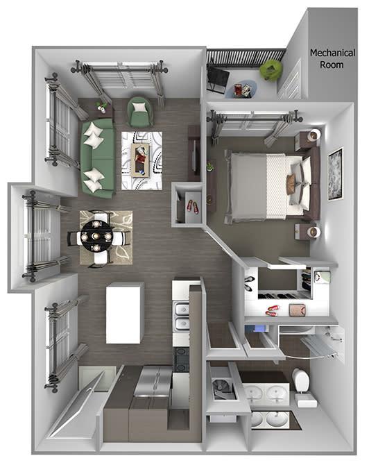 Quinn Crossing - Blue Ridge - 1 bedroom - 1 bath - 3D floor plan