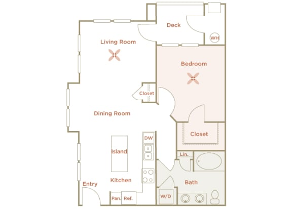 Quinn Crossing - Blue Ridge - 1 bedroom - 1 bath - 2D floor plan