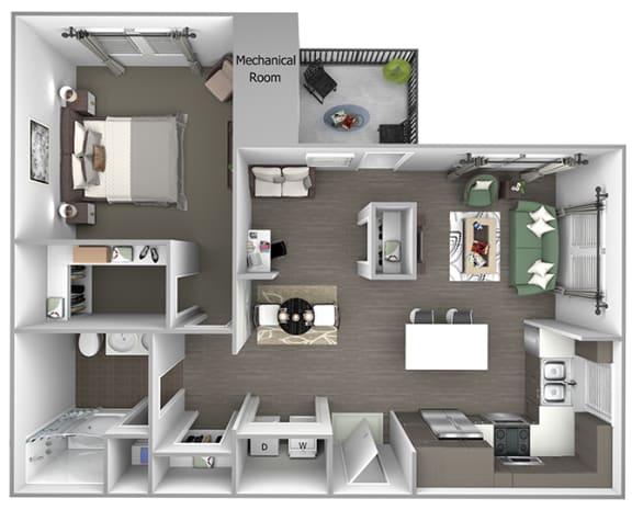 Quinn Crossing - Solano (A5) - 1 Bedroom and 1 bath - 3D Floor Plan