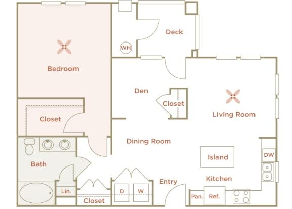 Quinn Crossing - Solano (A5) - 1 Bedroom and 1 bath - 2D Floor Plan