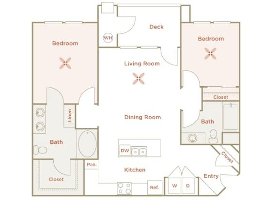 Quinn Crossing - Briones (B1) - 2 Bedroom and 2 bath - 2D Floor plan