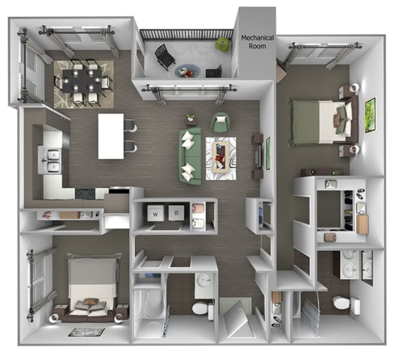 Quinn Crossing - San Pablo (B2) - 2 bedroom and 2 bath - 3D floor plan