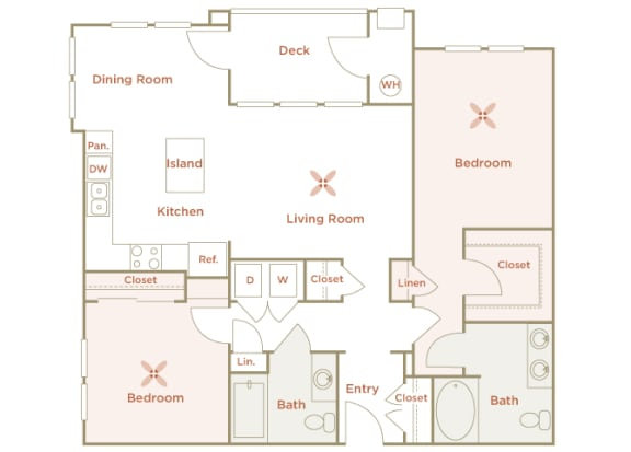 Quinn Crossing - San Pablo (B2) - 2 bedroom and 2 bath - 2D floor plan