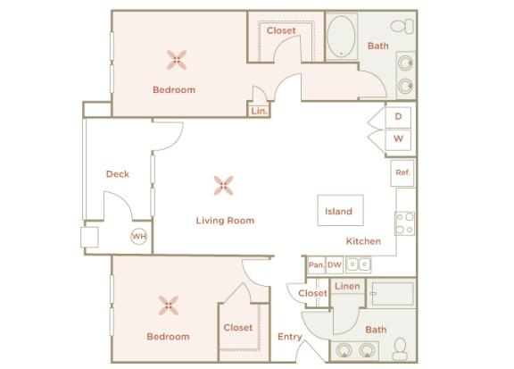 Quinn Crossing - Carquinez (B3) - 2 Bedroom and 2 bath - 2D floor plan