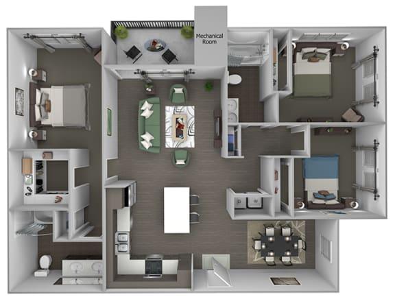Quinn Crossing - Sulsun (C1) - 3 Bedroom and 2 bath - 3D floor plan