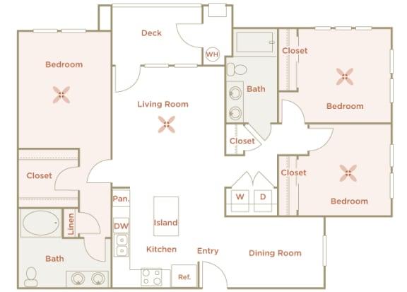 Quinn Crossing - Sulsun (C1) - 3 Bedroom and 2 bath - 2D floor plan