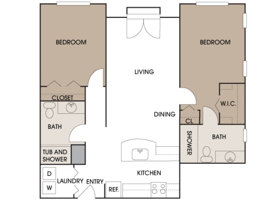 Centre Pointe Apartments - B1 - 2 bedrooms and 2 bath