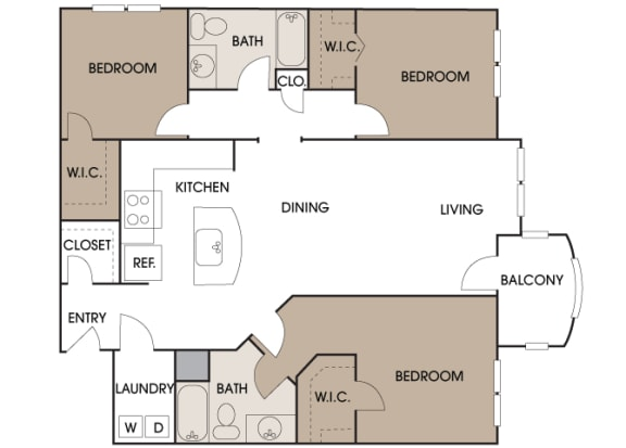 Centre Pointe Apartments - C1 - 3 bedrooms and 2 bath