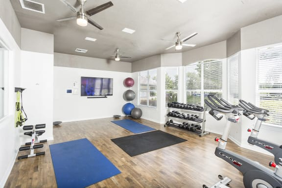 Egret's Landing Apartments innovative fitness center with yoga, strength, cardio and spinning rooms
