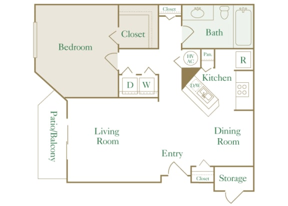 Egrets Landing Apartments - A1 (Heron) - 1 bedroom and 1 bath - 2D floor plan