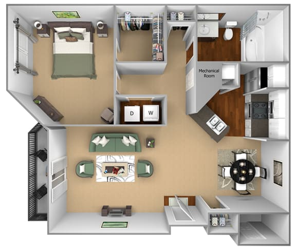 Egrets Landing Apartments - A1 (Heron) - 1 bedroom and 1 bath - 3D floor plan