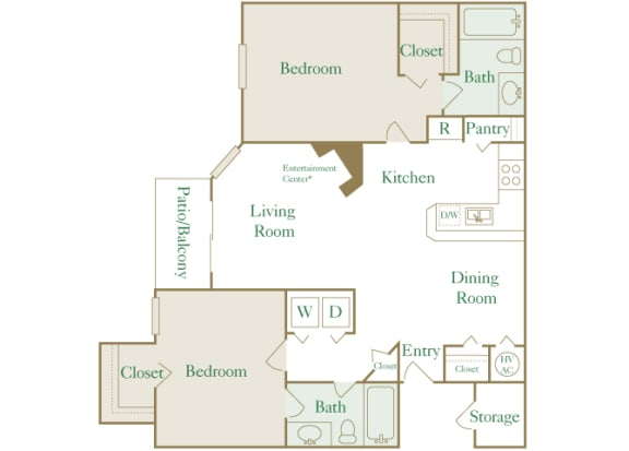 Egrets Landing Apartments - B1 (Egret) - 2 bedroom and 2 bath - 2D floor plan