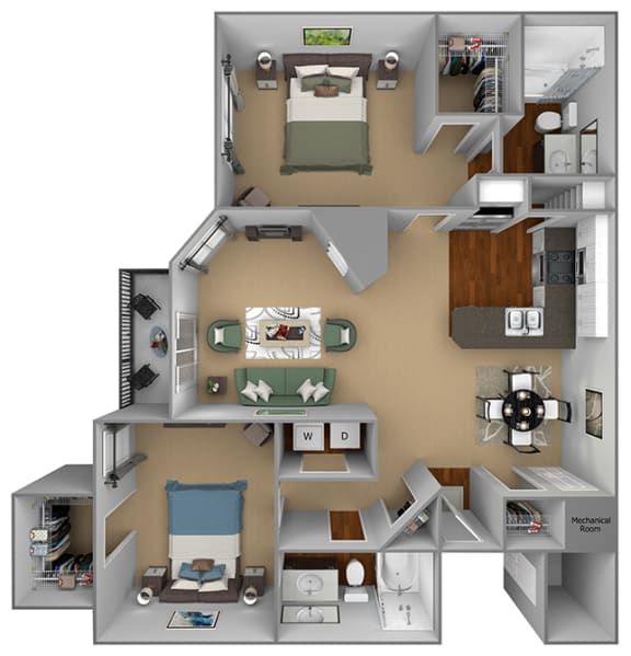Egrets Landing Apartments - B1 (Egret) - 2 bedroom and 2 bath - 3D floor plan