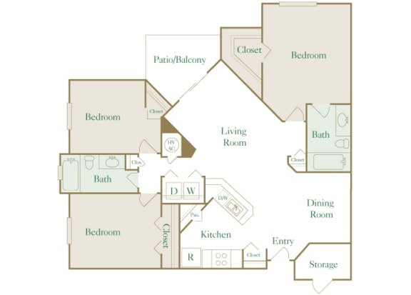 Egrets Landing Apartments - C1 (Preserve) - 3 bedrooms and 2 bath - 2D floor plan