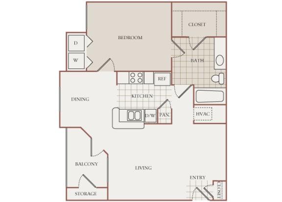 The Vineyards - A1 (Cabernet) - 1 Bed 1 Bath - 2D Floor Plans