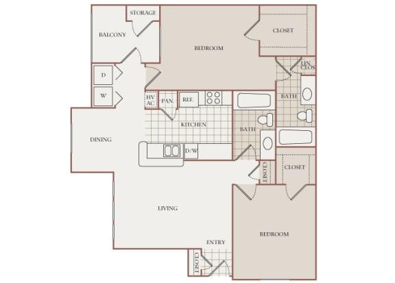 The Vineyards - B2 (Muscat) - 2 Bed 2 Bath - 2D Floor Plans