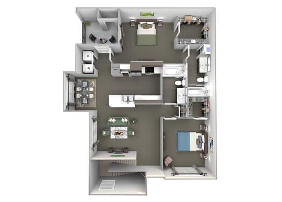 The Vineyards - B3 (Syrah) - 2 Bed 2 Bath - 3D Floor Plans