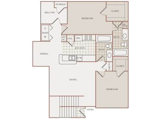 The Vineyards - B3 (Syrah) - 2 Bed 2 Bath - 2D Floor Plans
