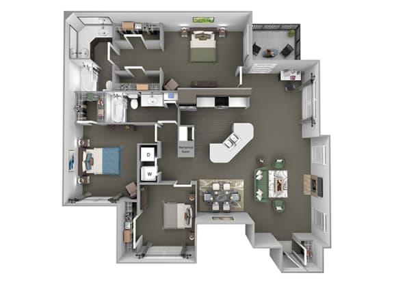 The Vineyards - C1(Riesling) - 3 Bed 2 Bath - 3D Floor Plans
