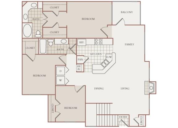 The Vineyards - C1(Zinfandel) - 3 Bed 2 Bath - 2D Floor Plans