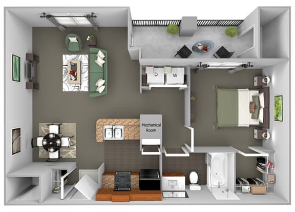 Delano at Cypress Creek - A2 (Alden) - 1 bedroom and 1 bath - 3D Floor Plan